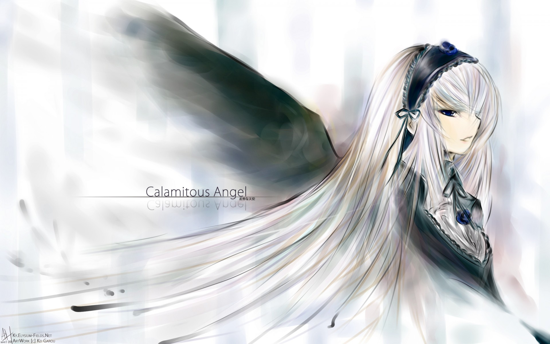 Konachan.com - 69880 headband long_hair ribbons rozen_maiden suigintou white white_hair wings