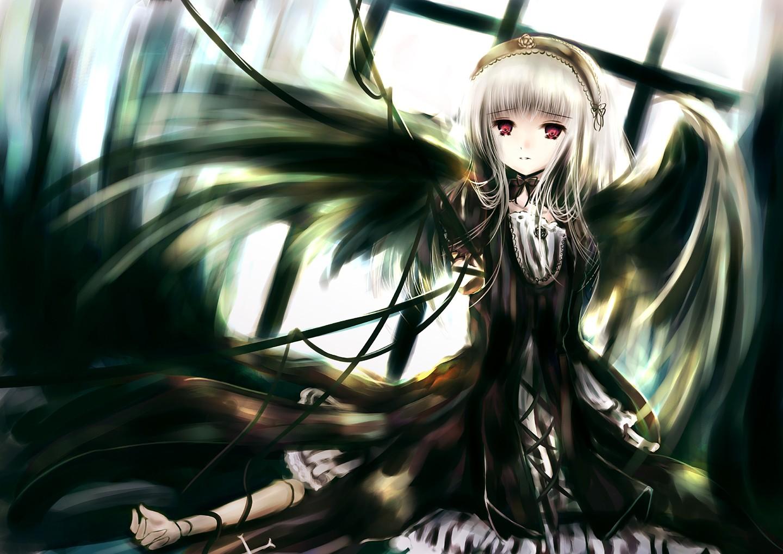 Konachan.com - 53112 gothic rozen_maiden suigintou white_hair wings