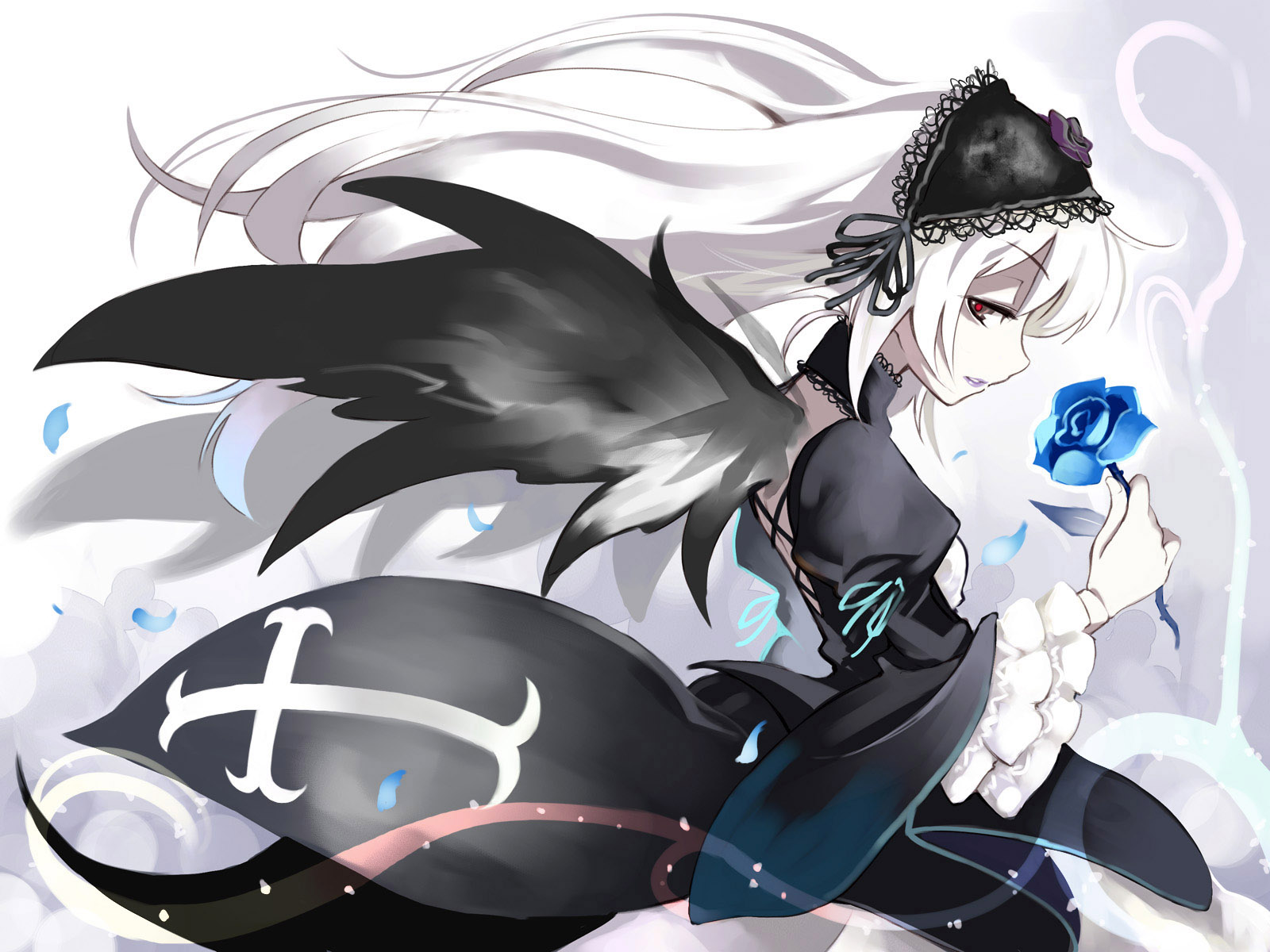 Konachan.com - 54793 goth-loli gothic long_hair rozen_maiden suigintou white_hair wings