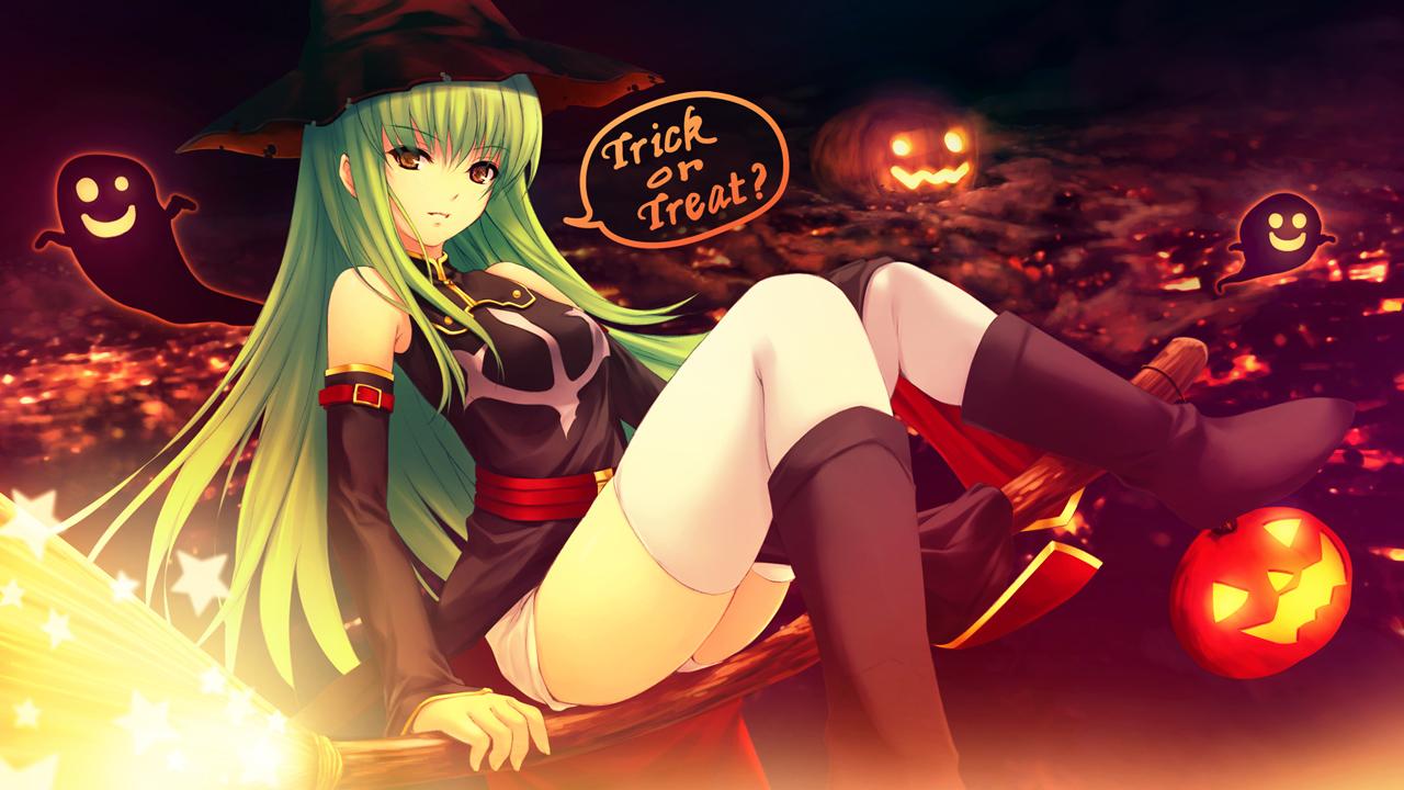 moe 80465 c.c. code_geass coffee-kizoku halloween thighhighs witch