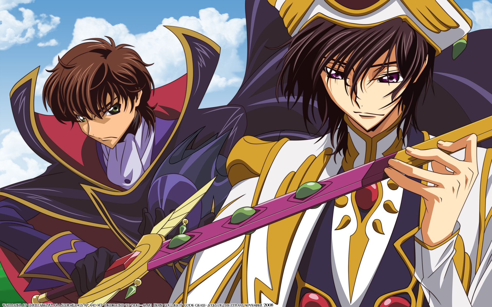 Konachan.com - 50055 code_geass kururugi_suzaku lelouch_lamperouge sword weapon