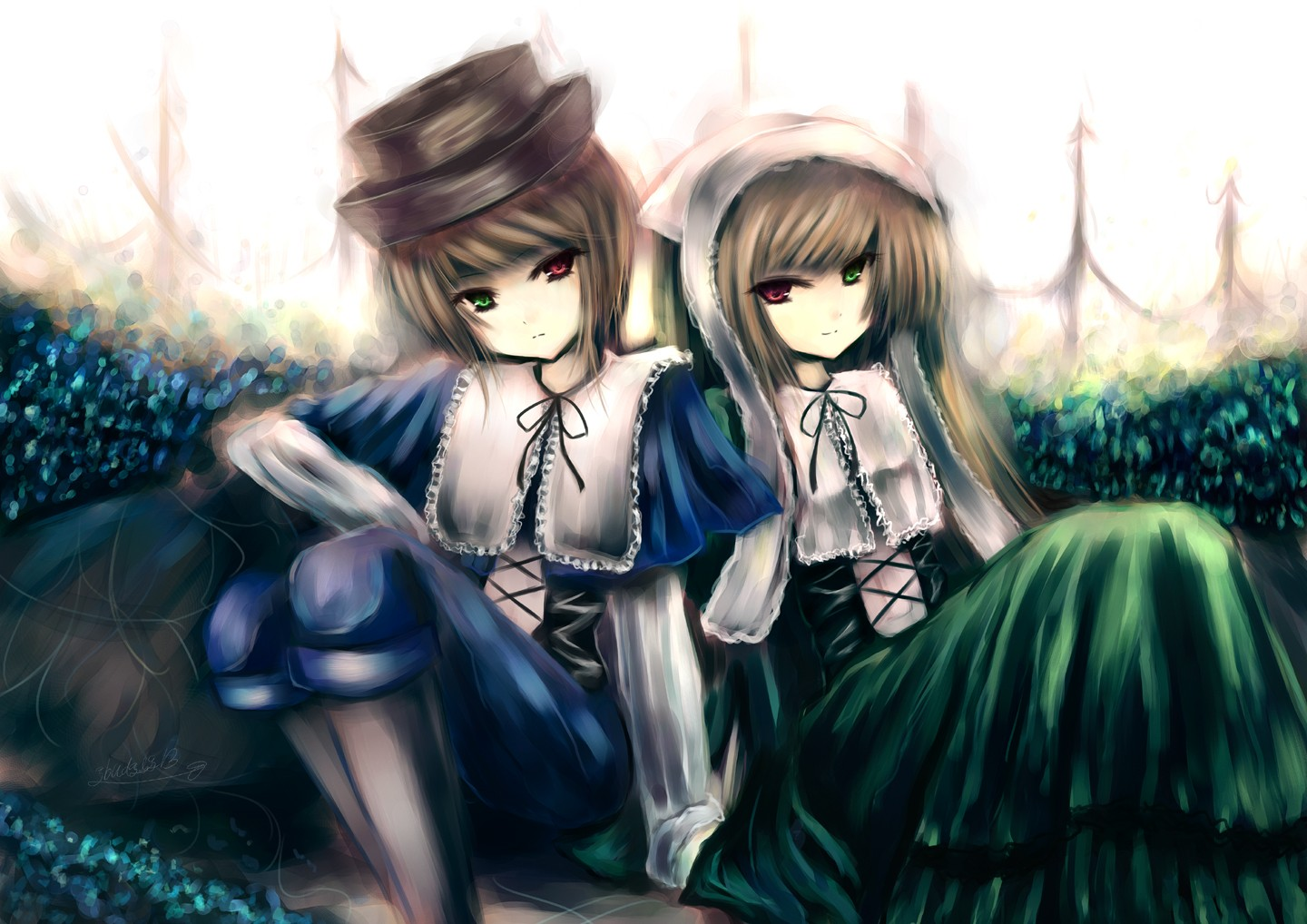 Konachan.com - 50901 bicolored_eyes brown_hair hat rozen_maiden souseiseki suiseiseki twins