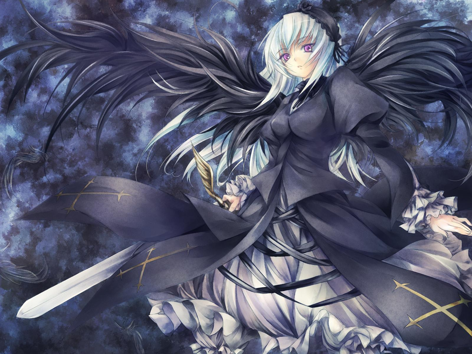 Konachan.com - 43025 goth-loli gothic lolita_fashion pink_eyes rozen_maiden suigintou sword weapon white_hair wings