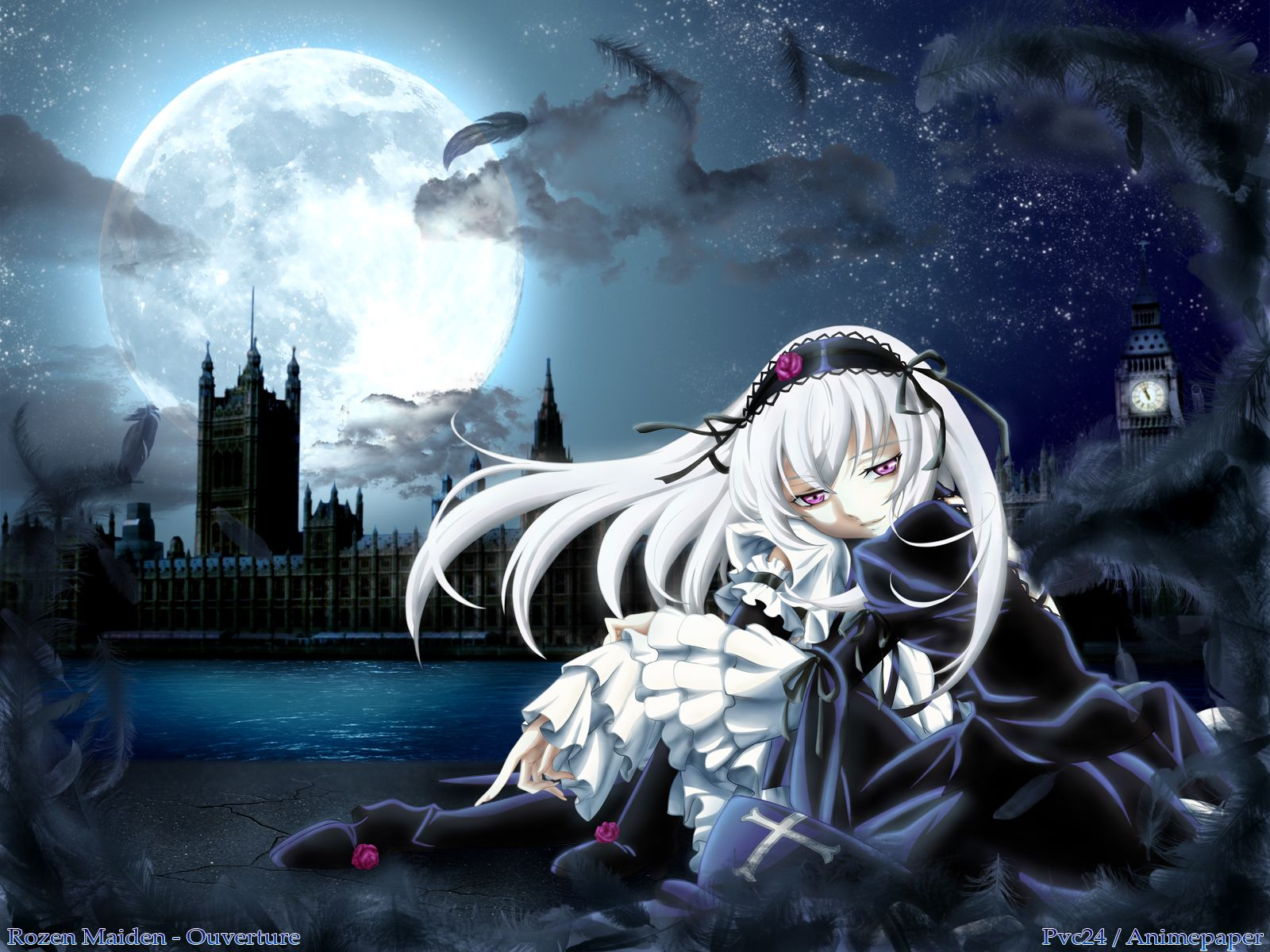 Konachan.com - 31301 long_hair moon rozen_maiden suigintou