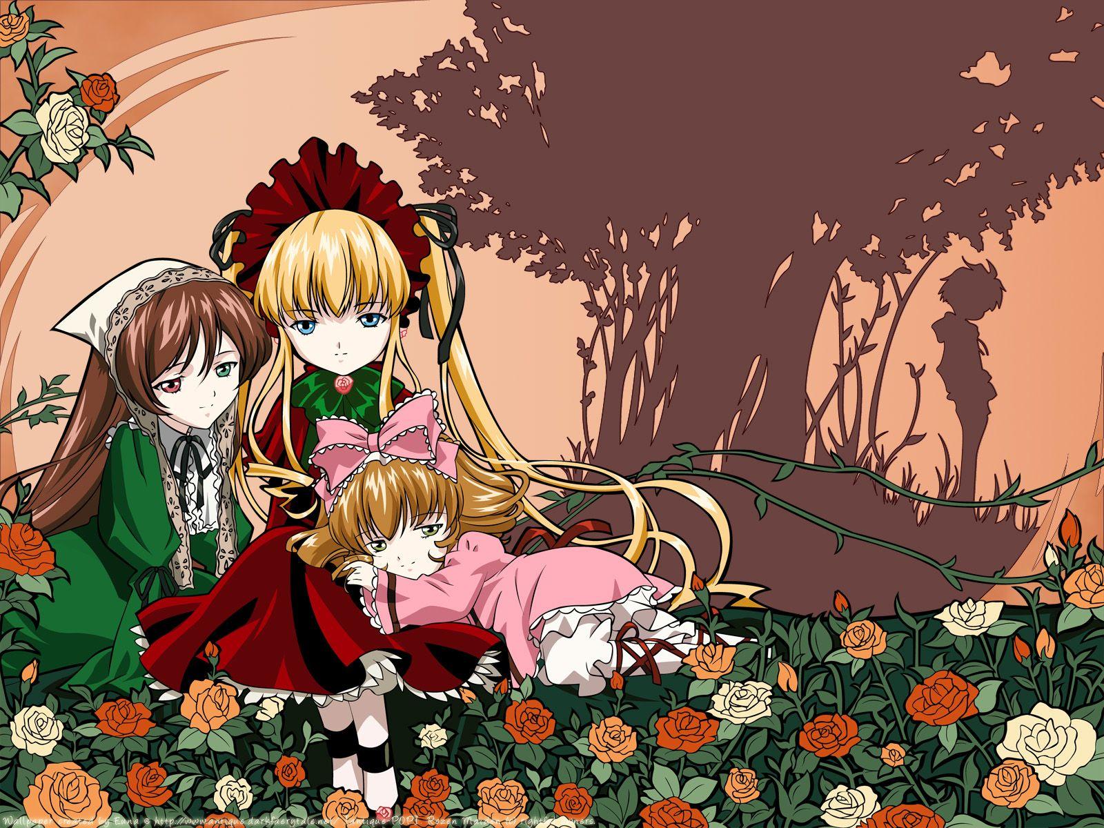Konachan.com - 25161 flowers hina_ichigo rozen_maiden sakurada_jun shinku silhouette suiseiseki