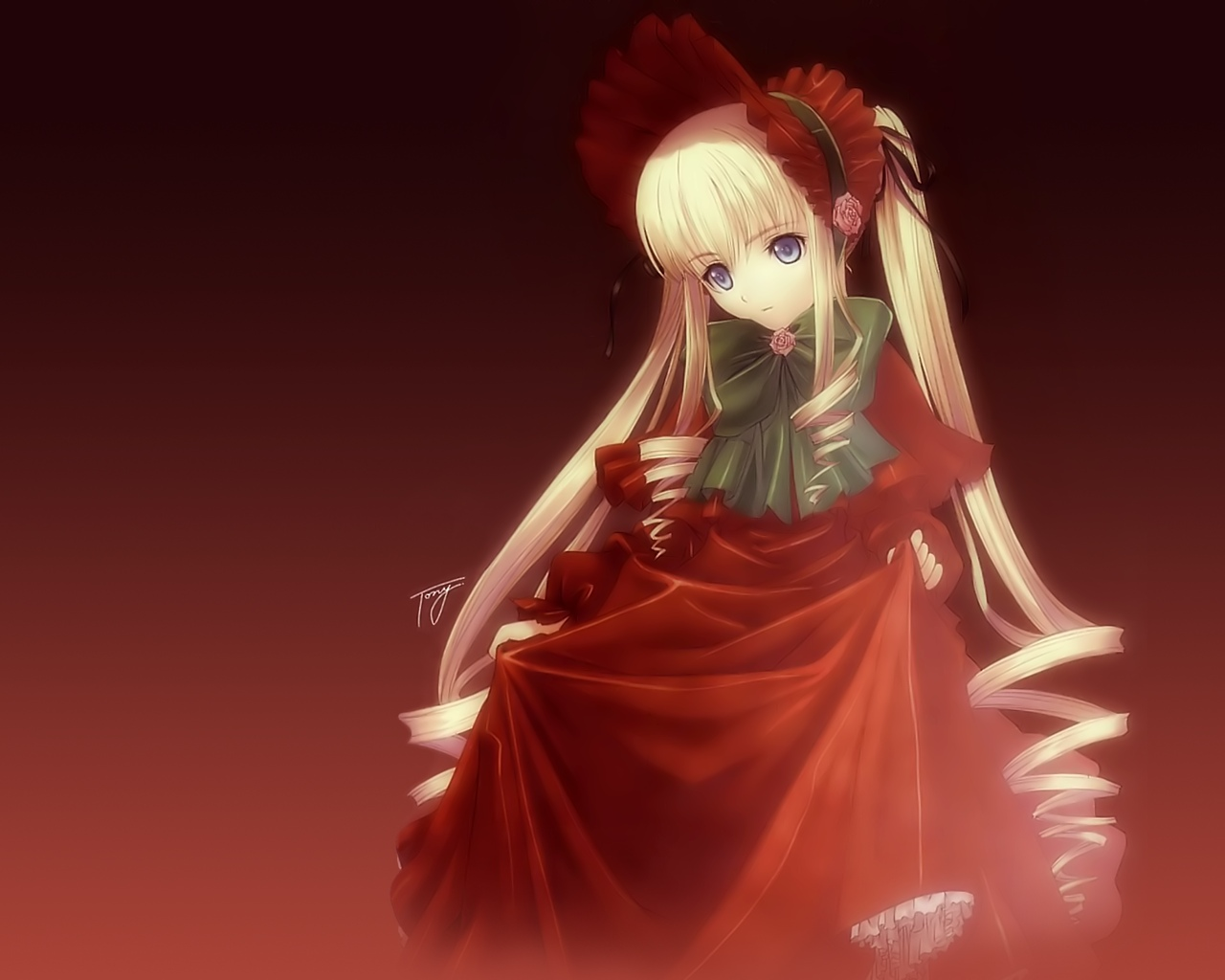 Konachan.com - 23282 blonde_hair blue_eyes red rozen_maiden shinku signed taka_tony
