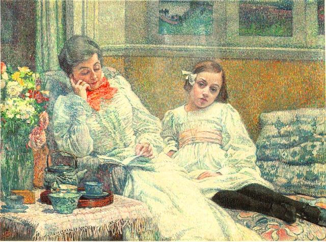 テオ・ファン・レイセルベルへ 読書する夫人と少女(画家の妻と娘の肖像)
