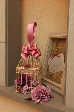 大人かわいいアンティークカラーの鳥かごブーケ(造花)