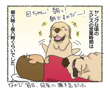 羊の国のラブラドール絵日記シニア!!「飼い主の営業時間変更」4コマ2