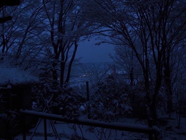 雪の朝、青の時間