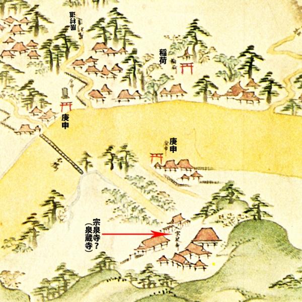江島道見取絵図:泉蔵寺付近