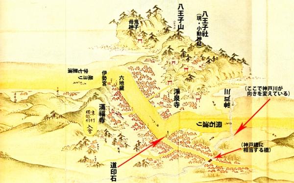 江島道見取絵図:腰越付近修正