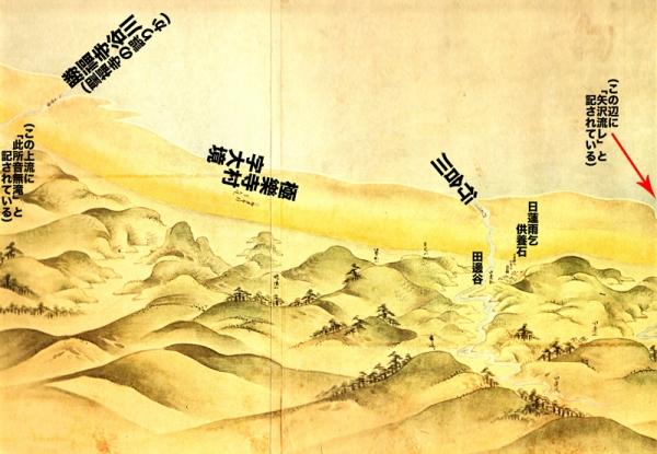 江島道見取絵図:行合川付近修正