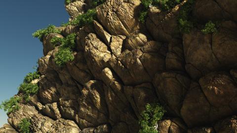 オーバーハングでこぼこ崖