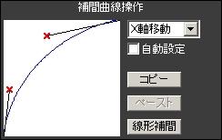カメラ補間曲線:X軸
