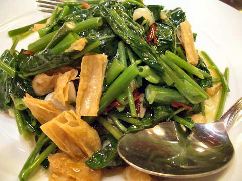 空心菜と湯葉のピリ辛炒め@香港海鮮飲茶樓