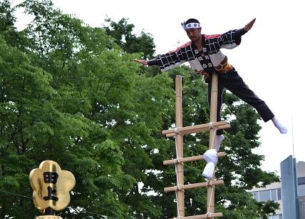 百万石祭りで田上分団の素晴らしい演技