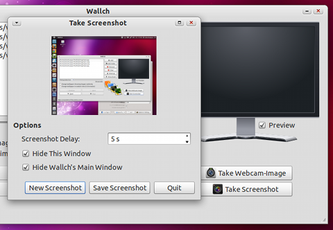 Wallch Ubuntu 壁紙チェンジャー 画面キャプチャを撮る