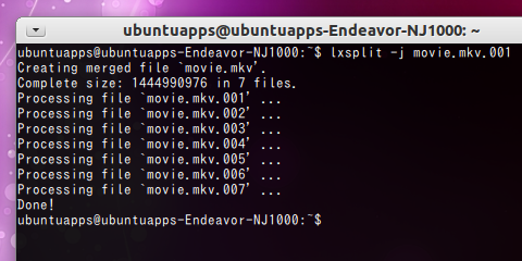 lxSplit Ubuntu mkv結合