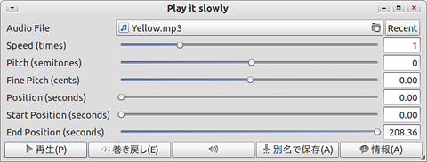 Play it slowly Ubuntu 音楽プレイヤー