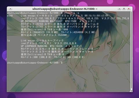 Ubuntu 端末 背景画像を表示