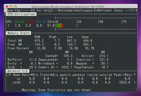 nmon for Linux Ubuntu システムモニタ CPU メモリ ネットワーク