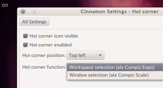 Ubuntu Cinnamon Settings Hot Cornerの設定
